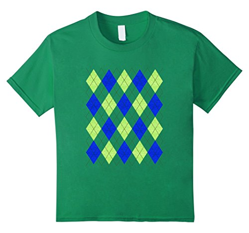 Kids Argyle Green and Blue preppy pattern 80s t-shirt 6 Kelly - 80s Preppy