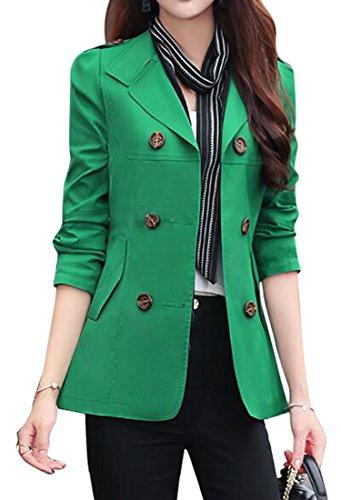 (SHOWNO Womens Double-breasted Lapel Short Trench Coat Jacket Blazer Coat Green XXL)
