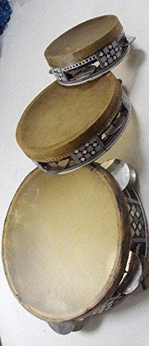 Set 3 Pcs Wooden Inliad Tabla Drum Musical Tambourine Rik Deff Cymbals 4.8''-8.5''