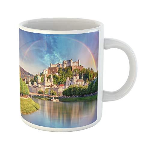Tarolo 11 Oz Mug Coffee Mug Ceramic Tea Cup Blue Europe Austria Rainbow Over Salzburg Castle Orange Landmark City Summer Large C-handle Family and Office Gift