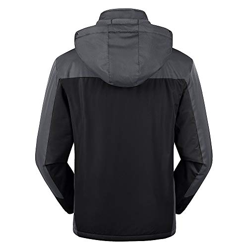 - Mens Winter Outdoor Cashmere Thickening Zipper Hoodie Sport Outdoor Assault Waterproof Casual Sports Coat Black
