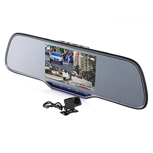 """Z-EDGE Z2Pro Dual Dash Cam, 2K Ultra HD 2160P Front & 1080P Rear 5.0"""" Ultra Clear IPS Rearview Mirror, Front and Rear Dash Cam, Backup Camera with 150 Degree Viewing Angle, WDR, 16GB card included from Z-EDGE"""