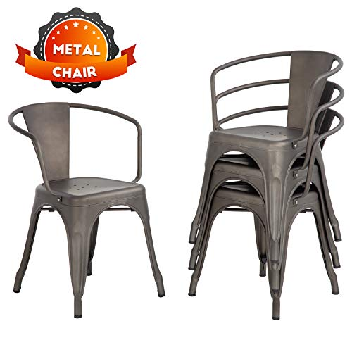 Dining Chairs Set of 4 Indoor Outdoor Chairs Patio Chairs Furniture Kitchen Metal Chairs 18 Inch Seat Height Restaurant Chair 330LBS Weight Capacity Tolix Side Metal Stackable Bar Chairs