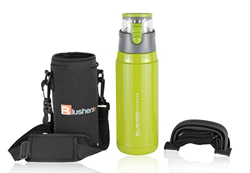 (Blushers 650ml (22oz) Double Wall Vacuum Insulated 304 Stainless Steel To Go Travel Mug, One Touch Lock Lid Thermos Water Bottle (Green Set))