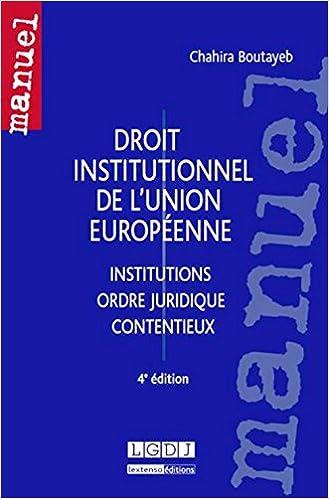 Livre Droit institutionnel de l'Union Européenne pdf, epub ebook