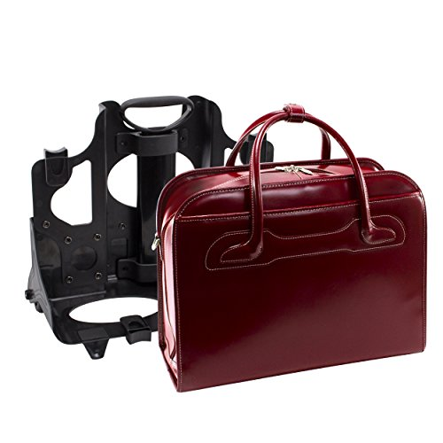 McKleinUSA Willowbrook [Personalized Initials Embossing] Leather Patented Detachable -Wheeled Ladies' Laptop Briefcase in Red by McKlein (Image #6)