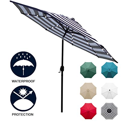 Sunnyglade 9' Solar 24 LED Lighted Patio Umbrella with 8 Ribs/Tilt Adjustment and Crank Lift System (Black and White)