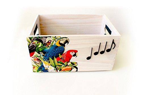 Caja estilo tropical de madera sin tapa. Pintada y decorada a mano
