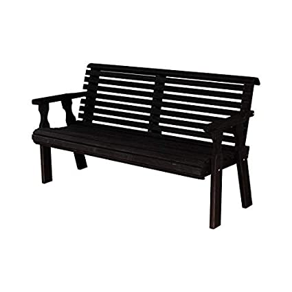 Stupendous Caf Amish Heavy Duty 800 Lb Roll Back Pressure Treated Garden Bench 5 Foot Semi Solid Black Stain Ncnpc Chair Design For Home Ncnpcorg