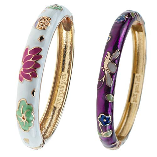 UJOY Bangles Bracelets Gorgeous Enameled Butterfly Flower Cloisonne Gold Plated Indian Jewelry Sets Box for Womens Gift 55B28 Purple