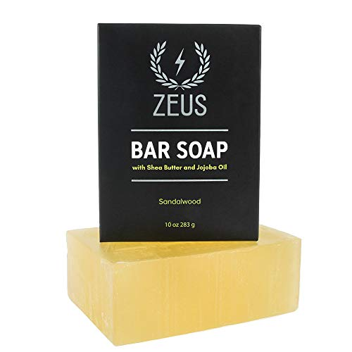 ZEUS XL Hard Bar Soap for Body and Face with Shea Butter & Jojoba Oil, 10oz (Sandalwood)