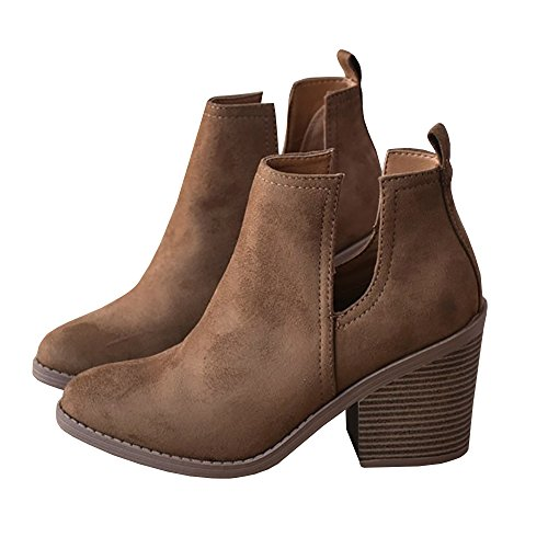 Nulibenna Womens Casual Pointed Toe Slip On Side Cut Out Low Heel Western Ankle Booties Brown