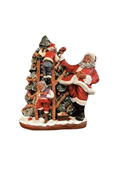 African American Christmas Santa Trims Tree Figurine