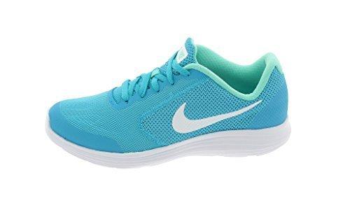 NIKE Girls' Revolution 3 (GS) Running Shoes, Chlorine BlueWhiteHyper Turq, 4.5 M US Big Kid