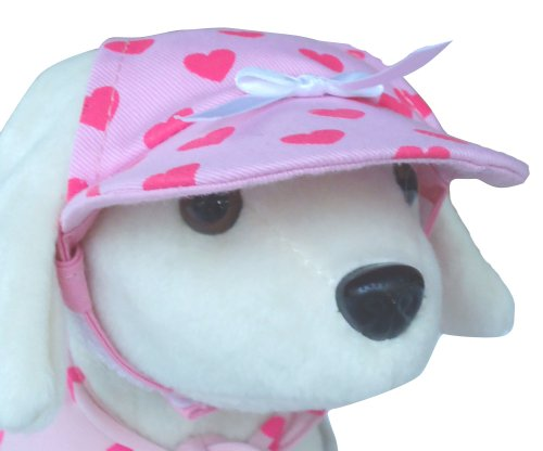 UP Collection Bow Cap for Dogs, Fuchsia Hearts, Small, My Pet Supplies