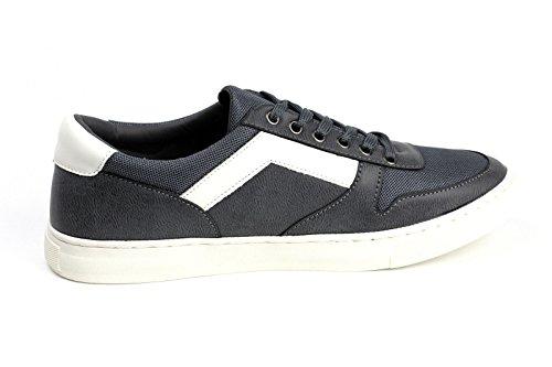 Hombres Con Cordones Cómodo Zapatillas Deporte Moda Informal Gimnasio Zapato plano Gris/Blanco