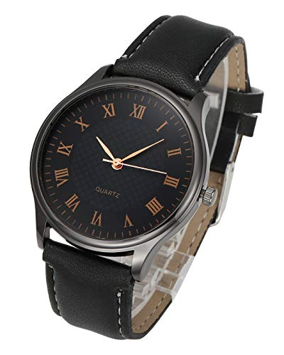 Top Plaza Mens Womens Leather Wrist Watch Simple Casual Big Face Roman Numerals Analog Quartz Business Dress Watches Rose Gold Number - Black -