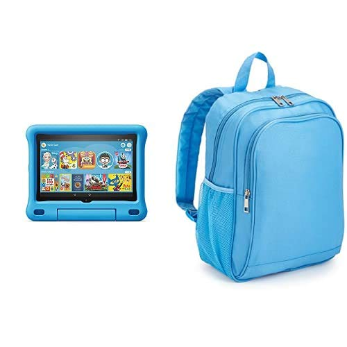 Fire HD 8 Kids Tablet 32GB Blue with Made for Amazon Kids Tablet Backpack, Blue