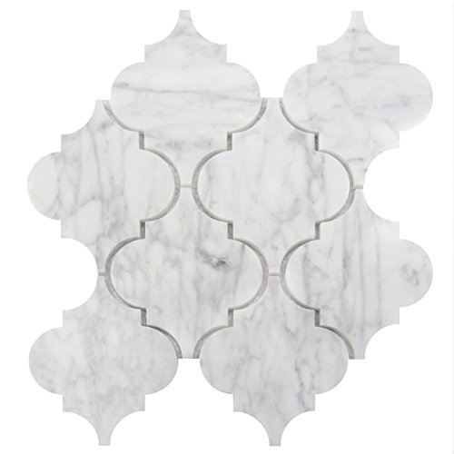 Wallandtile Carrara White 5''x6'' Waterjet Arabesque Interlocking Polished Mosaic Tile