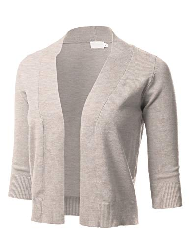 Wear Cropped Jacket - Women's Classic 3/4 Sleeve Open Front Cropped Cardigan HEATHERKHAKI M