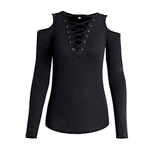 Couleur Rouge Caf XL Longues Cou T Loisirs Chemise Creux Noir Noir S Slim Mode Vin Solide V Shirt Manches Dames q45wUU