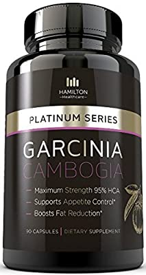 95% HCA EXTREME GARCINIA CAMBOGIA - 100% Pure Extract -- All Natural Formula with Potassium - NO CALCIUM - 90 Count Quality Veggie Capsules by Hamilton Healthcare