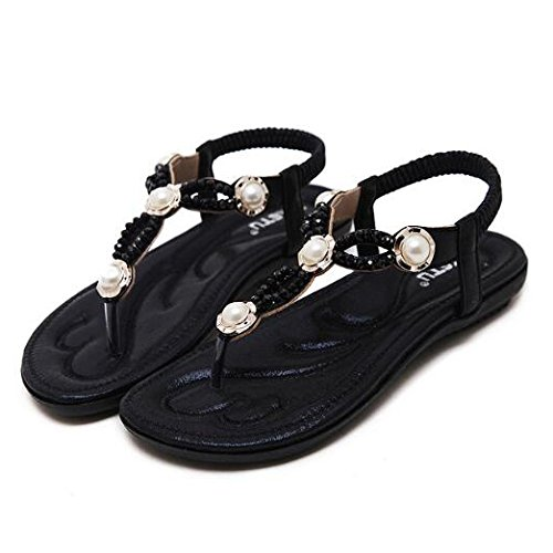Clip Toe Plage Chaussures Plat Été Hope Sandales Strass Bohème Dames Femmes Black xH8gwO7q0w