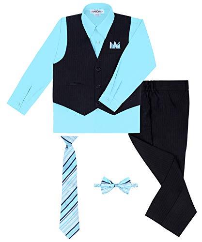 (Rafael Boy's Vest and Pant Set, Includes Shirt, Tie and Hanky - Black/Hawaiian Blue, 5)