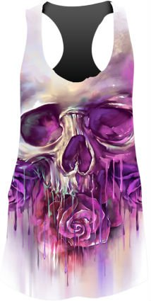 Lethal Threat Women's Shirt (Painted Skull Sublimation Tank Top)(Black, Small), 1 Pack