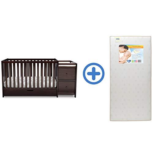 Delta Children Heartland Convertible Baby Crib N Changer with Drawer & Twinkle Stars Waterproof Fiber Core Crib and Toddler Mattress, Dark Chocolate