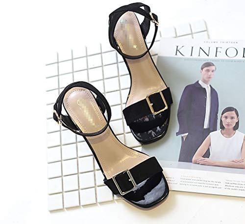 LIANGXIE Serie Hochzeiten Klassische für Damen Klettverschluss mit quadratischem Komfort Schwarz Sandalen Zhzz mit Kopf Partys HSwqH7r