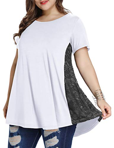(LARACE Women Lace Tunic Top Short Sleeve Flare T Shirt for Leggings(M,White))