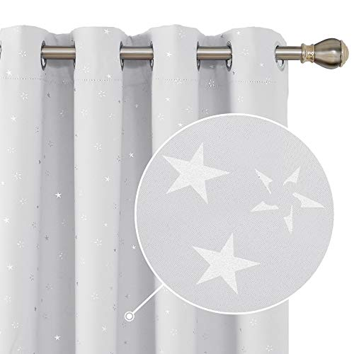 Deconovo Star Print Room Darkening Curtains Thermal Insulated Nursery Curtain Panels Grommet Top Drapes for Kids 52 x 54 Inch 2 Panels Greyish White (Best Curtains For Nursery)