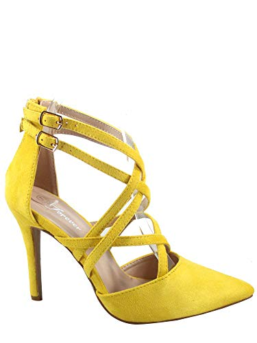 (FZ-Young-04 Women's Fashion Sexy Strappy Buckle Pionted Toe Rear Zipper Sandal Shoes (7 B(M) US, Mustard))