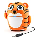 Cute Animal Rechargeable Portable Speaker with Passive Subwoofer (Groove Pal Tiger) Speaker for Kids by GOgroove - Stereo Drivers, Retractable 3.5mm AUX Cable - Plug Into Tablets, Phones, & more