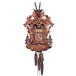Original One Day Mechanical Movement Cuckoo Clock with Dancers and Moving Owls 16.5 Inch
