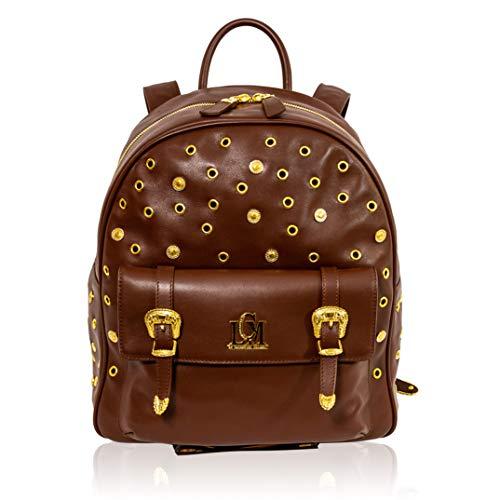 Valentino Orlandi Italian Designer Maroon Leather Large Sling Backpack Bag w/Studs