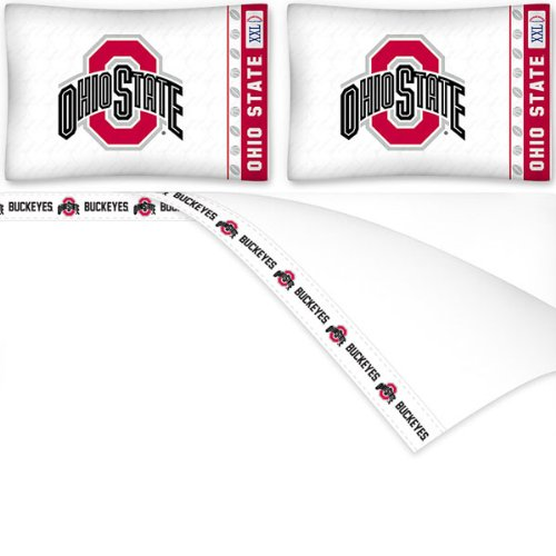 4pc NCAA Ohio State Buckeyes King Bed Sheet Set College Team Logo Bedding Accessories