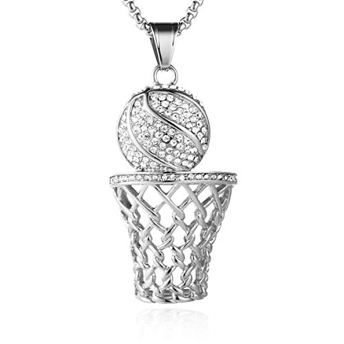 (HZMAN Mens 18k Gold Silver Plated Basketball Rim CZ Inlay Pendant Hip Hop 24 Inches Chain (Silver))