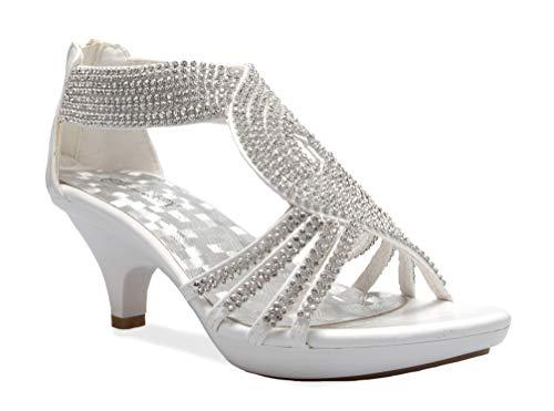 OLIVIA K Women's Open Toe Strappy Rhinestone Dress Sandal Low Heel Wedding Shoes White Glitter