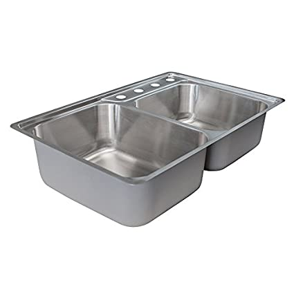 Franke Evolution 33.5u0026quot; Top Mount Offset Double Bowl 4 Hole Kitchen Sink  With Fast