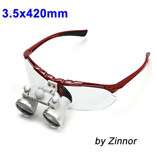 Zinnor (FBA Available) Dentist Dental Surgical Medical Binocular Loupes 3.5X 420mm Optical Glass Loupe - Dental Binocular Loupes