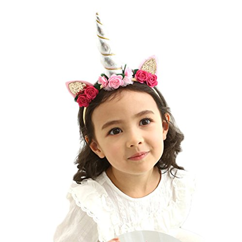 Halloween Date Party Costumes (Xinshi Shining Unicorn Horn Ears Flower Headband Halloween Cosplay Costume Party Decorations (silver(1pcs)))