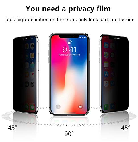 Privacy Screen Protector for iPhone Xs and iPhone X, Anti Spy Tempered Glass Film ⚡