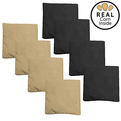 Corn Filled Cornhole Bags - Set of 8 Bean Bags for Corn Hole Game - Regulation Size & Weight - Black & Gold