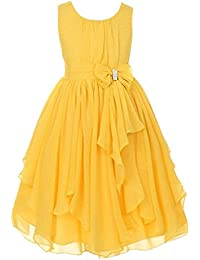 Kids Girls Chiffon Asymmetric Ruffled Long Dress Flower Girl Dress