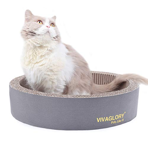 Vivaglory Oval Cat Scratcher Cardboard, Durable Cat Scratch Lounger Scratching Bed with Catnip, Grey