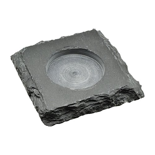 (Nicola Spring Natural Slate Square Candle and Tealight Holder Tray, 10 x 10 cm)