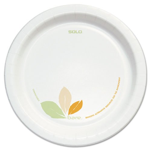 "SOLO Cup Company Bare Clay-Coated Paper Dinnerware, Plate, 8.5"", Green/Tan, 125/Pack, 2 Packs - Includes two packs of 125 plates each."