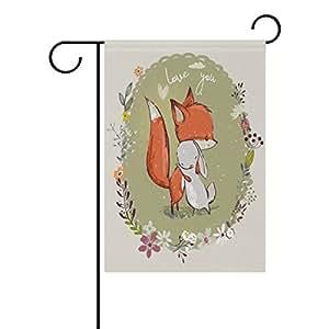 ALAZA día de San Valentín Cute Fox poliéster bandera de Jardín Casa Banner 12x 18inch, dos Sided bandera de bienvenida Patio Decoración para Boda Fiesta Decoración para el hogar